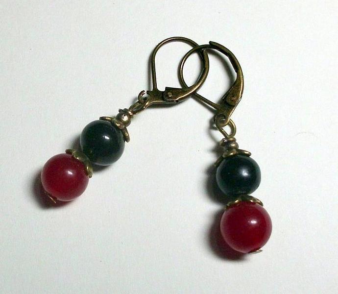 Vintage Style Red Jade and Black Drop Earrings