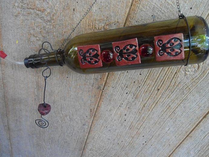 Humming Bird Feeder- wine bottle Lady Bug