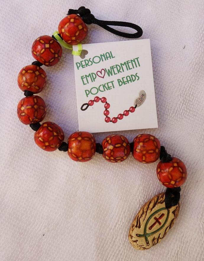 Painted Wood PEP Beads with Clay Fish and Cross fob (#W13001)