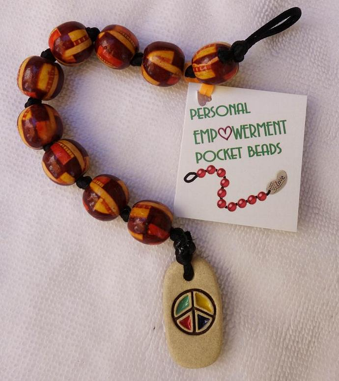 Painted Wood PEP Beads with Clay Peace fob (#W13002)