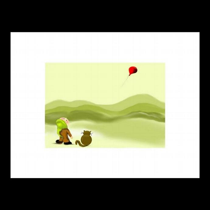 Nursery Art - Kids Room Art - Wall Art Decor - Art Giclee Print - Boy - Cat -