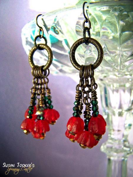 Red Tulip Flowers Recycled Glass Beads Earrings Green Iridescent Brass Etched