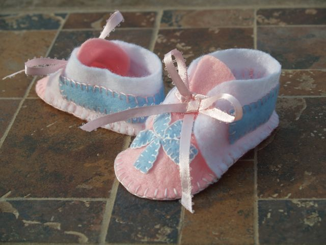 Baby Pink and Blue Handstitched Infant Felt Bootie