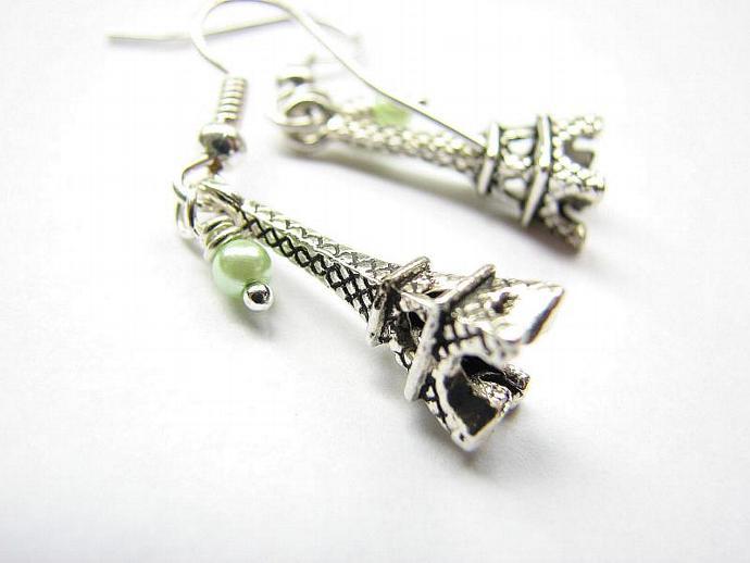 Eiffel Tower Dangle Earrings  Silver Eiffel Tower  Jewelry