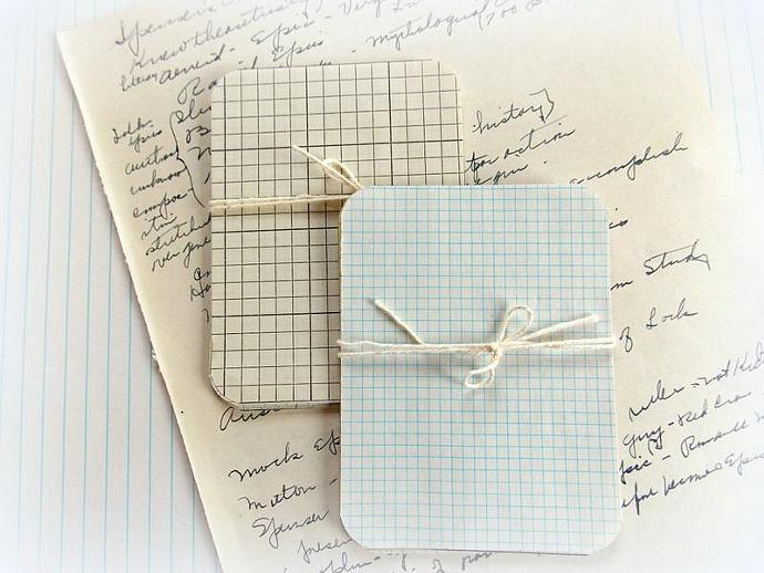 Bundle of Vintage Grid Journal Paper Card Tags - PROJECT LIFE