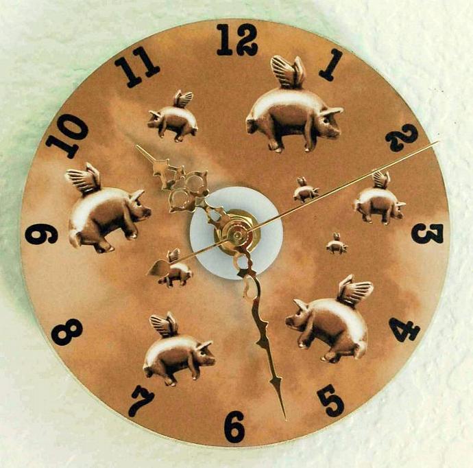 Sepia Flying Pigs CD Wall Clock