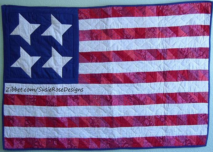 Custom Order -  Scrappy American Flag Wallhanging Patriotic, Red White & Blue,