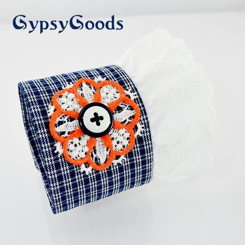 Blue Retro Wrist Cuff Eyelet lace Applique button