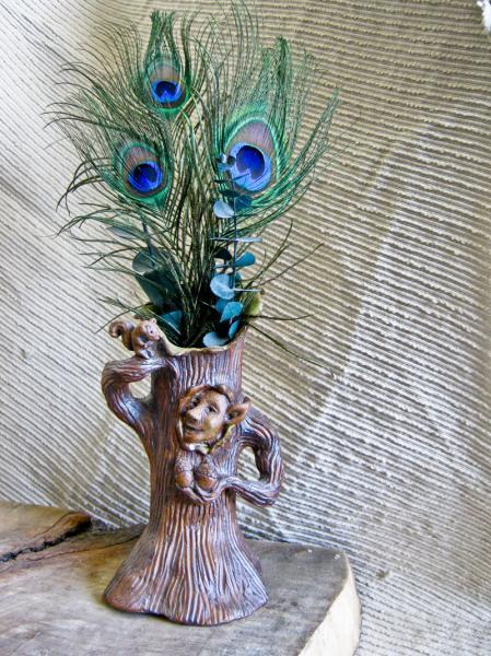 Stoneware Pottery / Sculpture Art / Elf Tree / Flower Vase / One of a Kind /