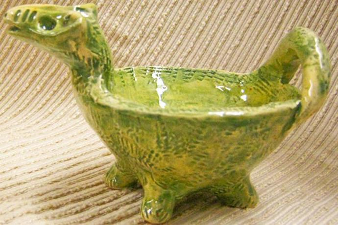 Green Dinosaur - Animal  Sculpture / Dip Bowl / Candy Dish  / Trinket Bowl /