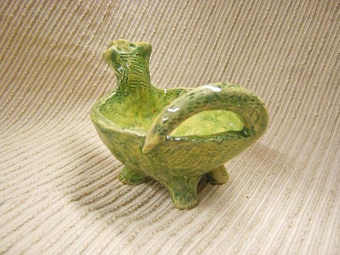 Green Dinosaur - Animal  Sculpture / Dip Bowl / Candy Dish  / Trinket Bowl /