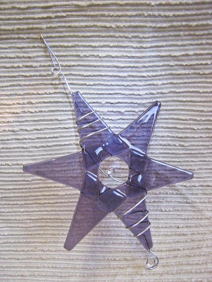 Handmade Christmas Ornament / Suncatcher - Lavender Glass Star - Squiggled