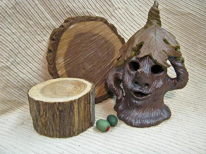 Handmade Pottery Night Light / Woodland Fairy Tree Sprite / Candle Holder /