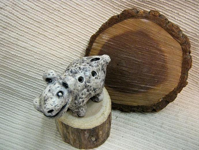 Unisex Gift : Clay Ocarina  Animal Flute / Sculpture / Whimsical Animal -  OOAK