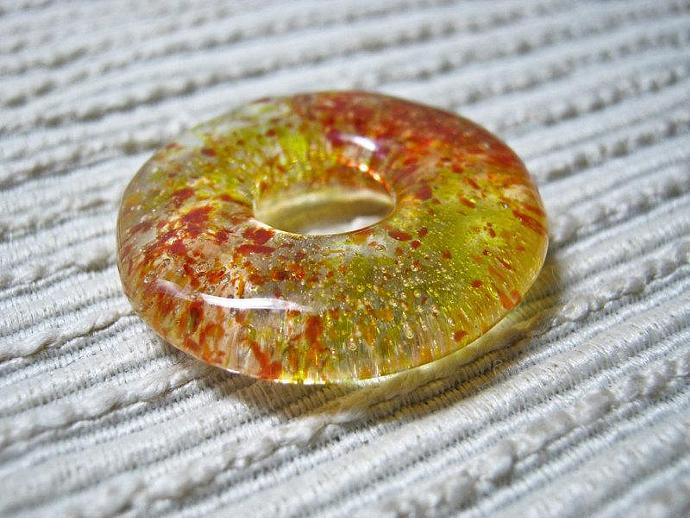 ONE Glass Meditation Circle Pendant / Medium Round Donut Focal Bead / Yellow