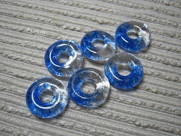 Handmade Ocean Blue Translucent Fused Glass Beads / Set of 6 /  Blue Clear Blend