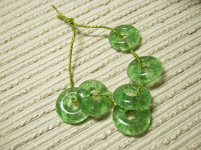 Handmade Green Jewelry Beads / Fused Glass /  Set of 6 /  Lime Green / For Your