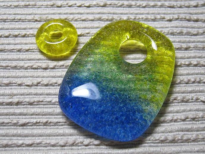 Ocean Blue Sunny Sky Pillow Pendant Set  / Large Focal Bead / with Green