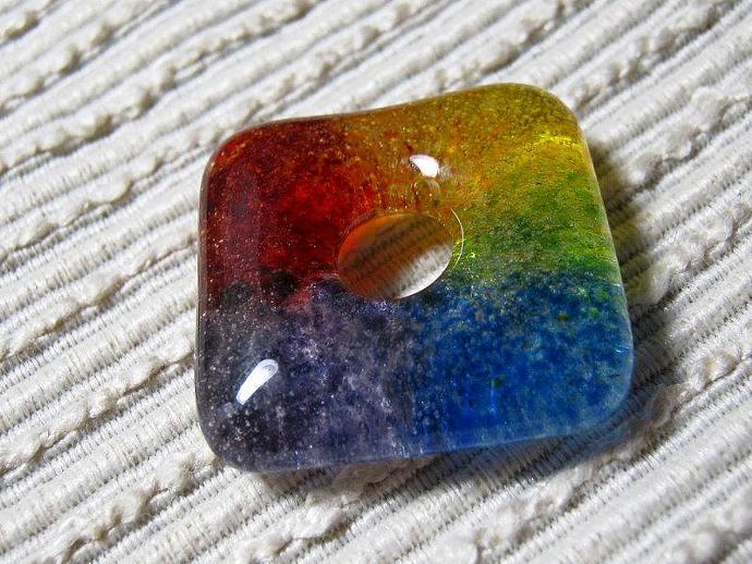 SQUARE Rainbow Bead / Kiln Cast Fused Glass Donut / Medium Focal Bead / Supplies