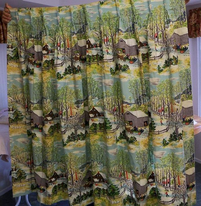 "Drapes  Grandma Moses "" Springtime on the Farm"" Fabric Lined Drape"