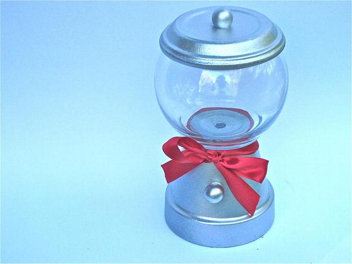 Silver Gumball Machine Candy Jar Terra Cotta