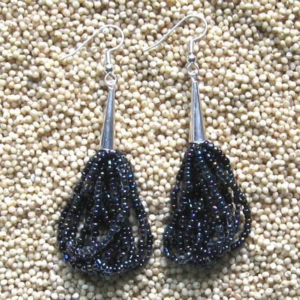 Earrings multi strand beaded shades of black