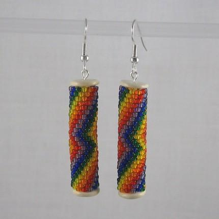 Earrings beaded tubes Rainbow Lightning