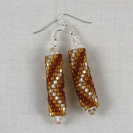 Earrings beaded amber brown silver