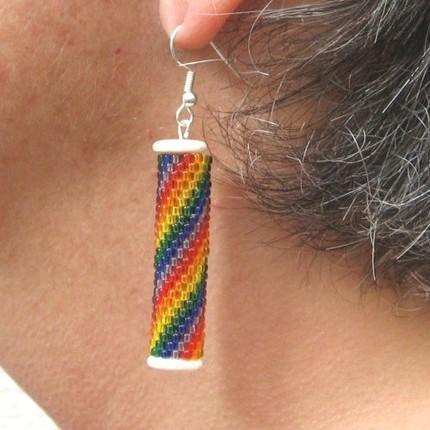 Beadwoven earrings - Rainbow Swirl