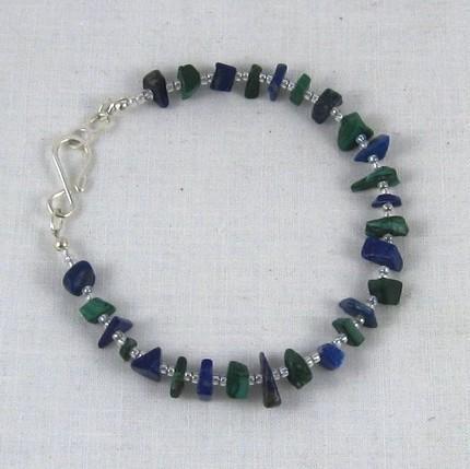 Lapis and malachite beaded bracelet