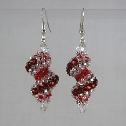 Beaded Cellini spiral earrings red silver