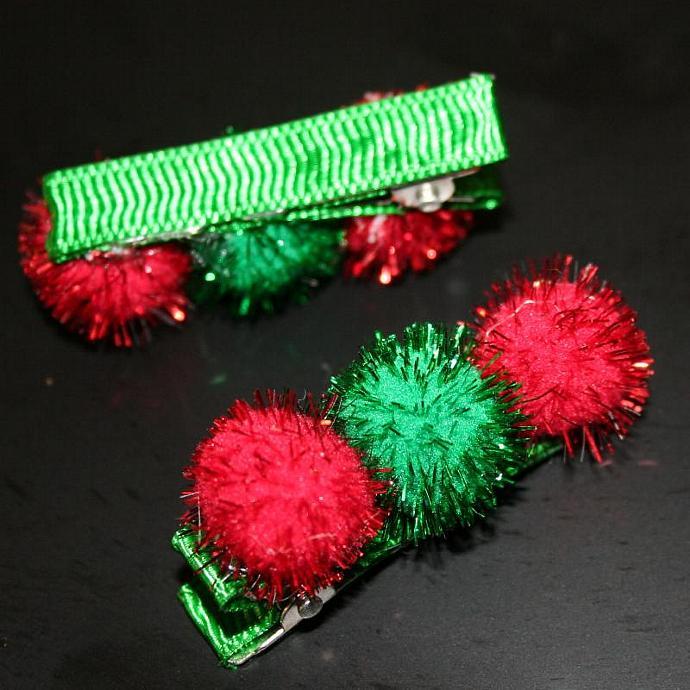 Christmas Pom Pom Hair Clips - Set of 2