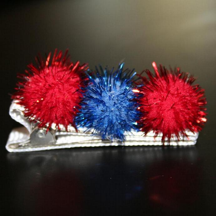 Patriotic Pom Pom Hair Clip