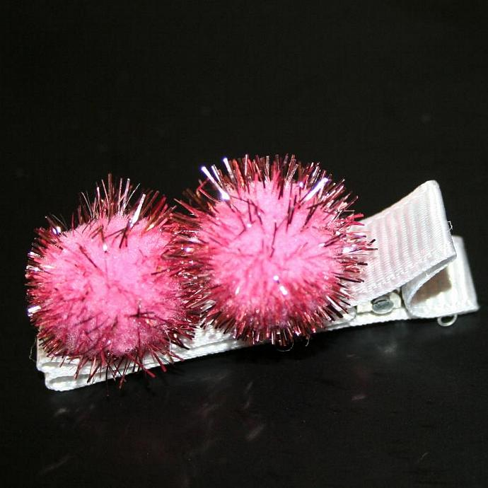 Pink Pom Pom Hair Clip