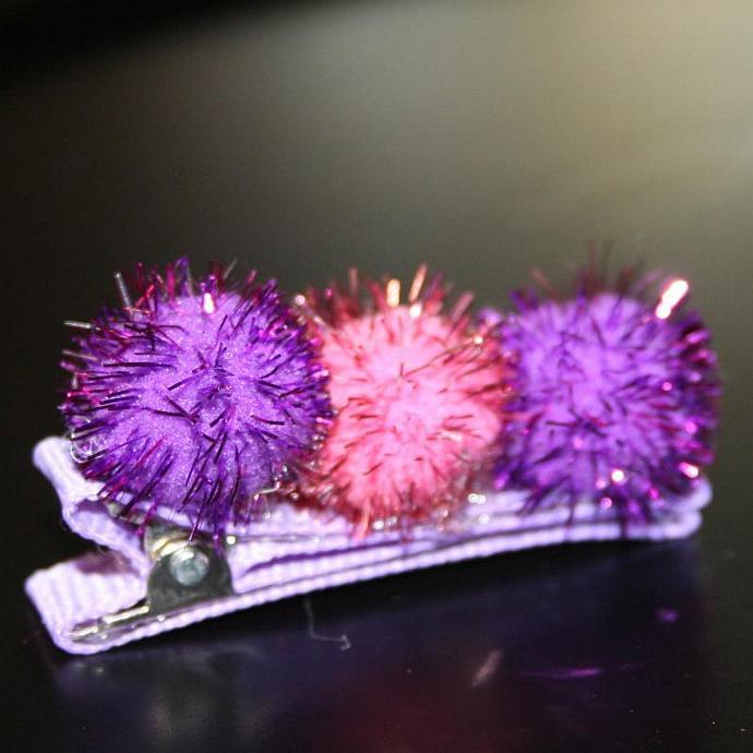 Pink & Purple Pom Pom Hair Clip