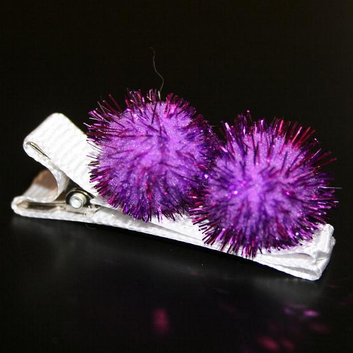 Purple Pom Pom Hair Clip
