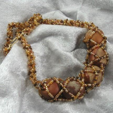 Necklace beadwoven with hazelnuts Autumn Fields