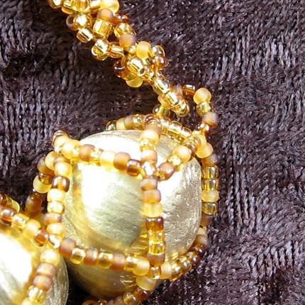 Necklace beadwoven hazelnuts Autumn Gold