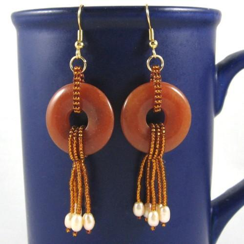 Freshwater pearl and red aventurine earrings beadwoven