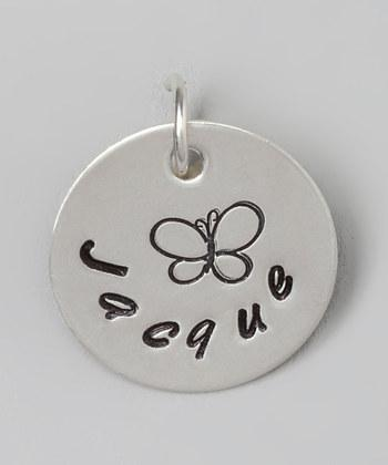 """Custom - 5/8"""" Butterfly Personalized Sterling Silver Pendant"""