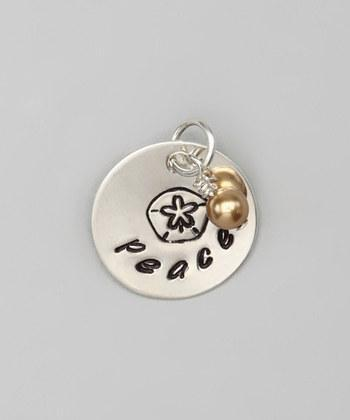 """Custom - 5/8"""" Sand Dollar Personalized Sterling Silver Pendant w/ charm, Hand"""