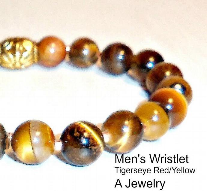 "Men's Bracelet Tiger's Eye,""Persistence"""