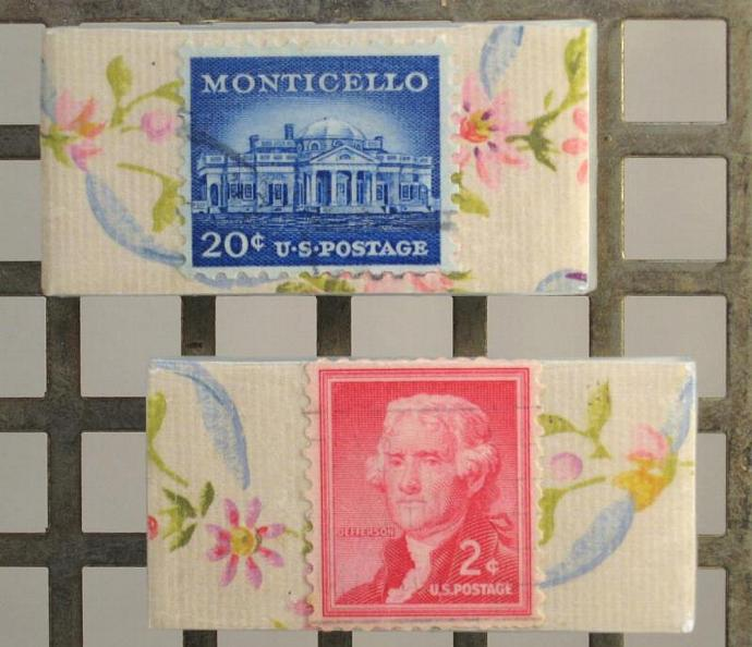 Vintage Postage Stamp Magnets, Thomas Jefferson and Monticello