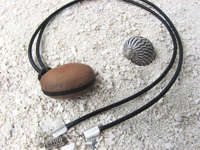Mens Sea Bean Necklace, Simple Leather and Seed Jewelry From the Beach