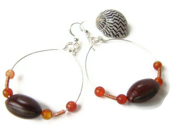 Sea Bean Jewelry, Boho Silver Hoop Earrings with Natural Seeds,  Agates and