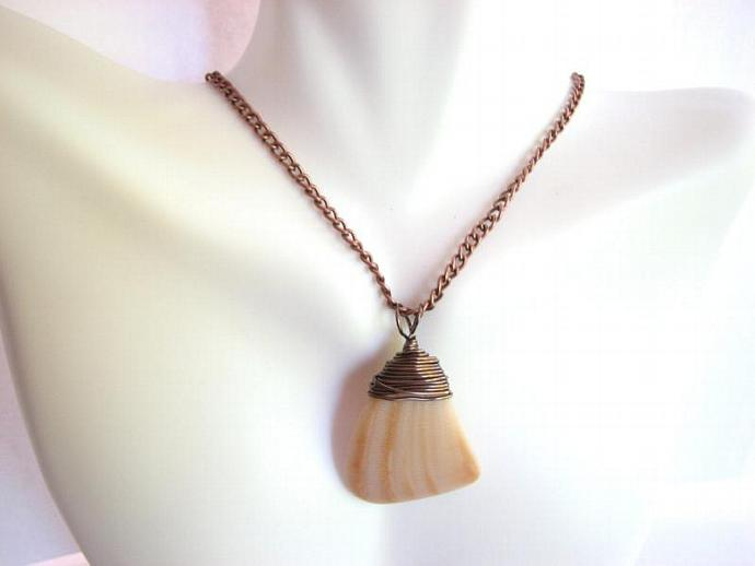 Sea Shell Necklace, Copper and Yellow Shell Jewelry from Bits off the Beach