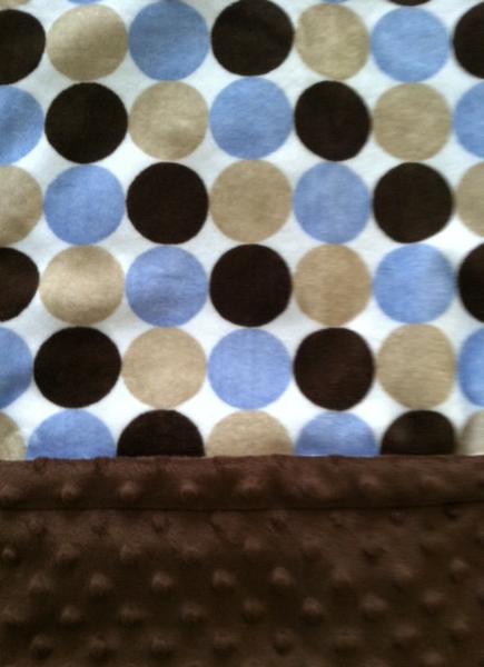 Brown Minky Baby Blanket  Blue Tan Retro Circle Cuddly Dot Back Car Seat    29 x