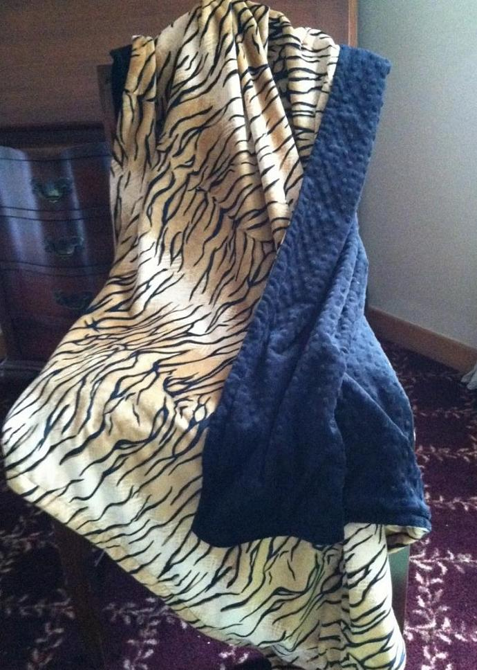Tiger Animal Print Minky Baby Blanket  Black Minky Dot Back   Car Seat Stroller