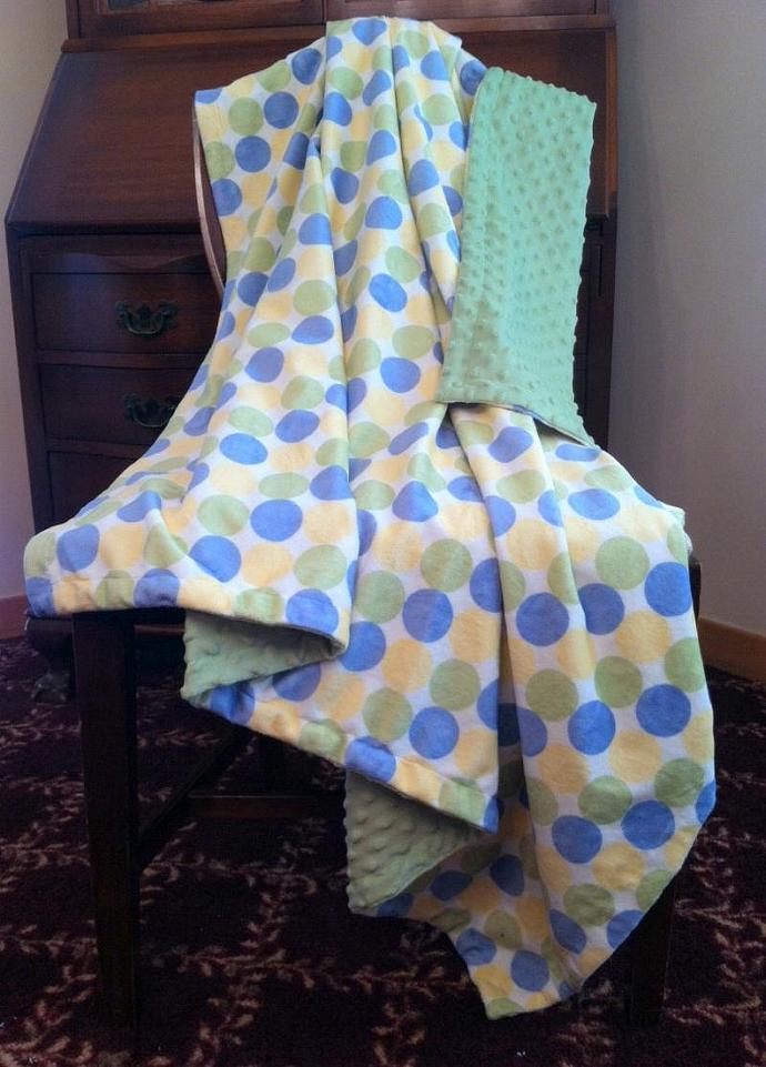 Green Minky Blanket  Retro Circles Yellow Blue  Cuddly  Sage Dot  Back Adult