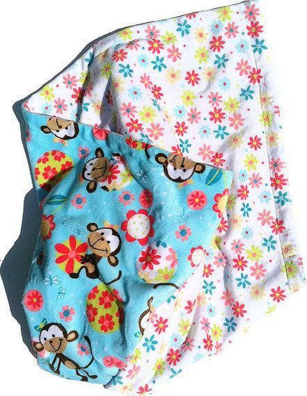 Blue Minky Monkey Blanket White Daisy Plush Blanket GIrl Toddler Bedding 40 x 50